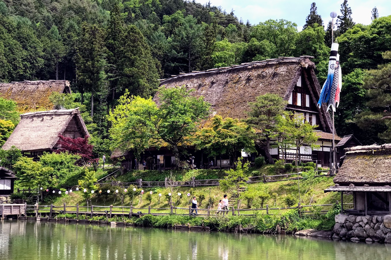 The house with a steep rafter roof in Hida village